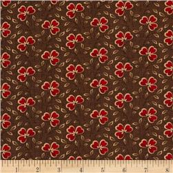 Moda Collection for a Cause Mill Book Clover Leaf Flower Dark Walnut Brown