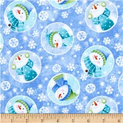Let it Snow Flannel Snowman Allover Blue