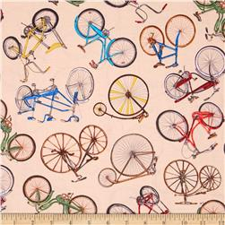 Vintage Bicycles Allover Bicycle Print Creme