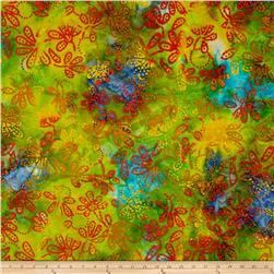 Indian Batik Gypsy Floral  Yellow/Orange/Blue
