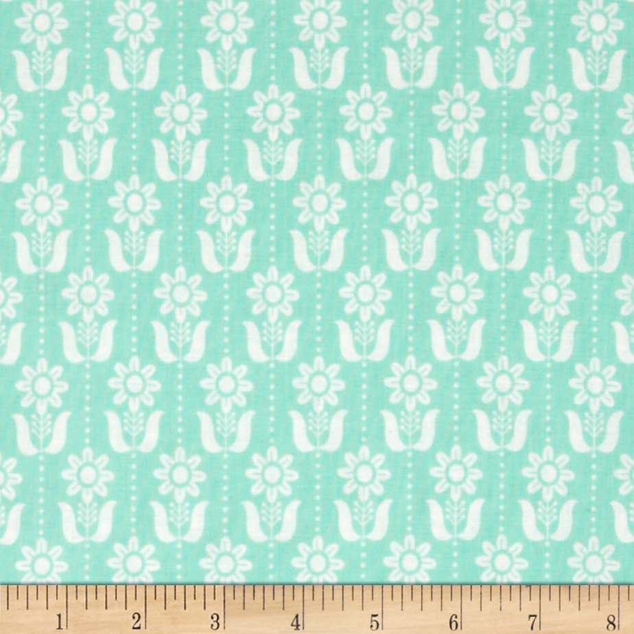 Grey Abbey Organic Folky Daisy Egg Blue Fabric