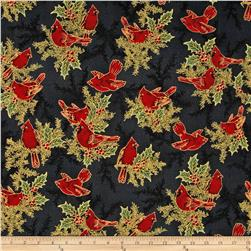 Holiday Flourish 6 Cardinals & Holly Metallic Black