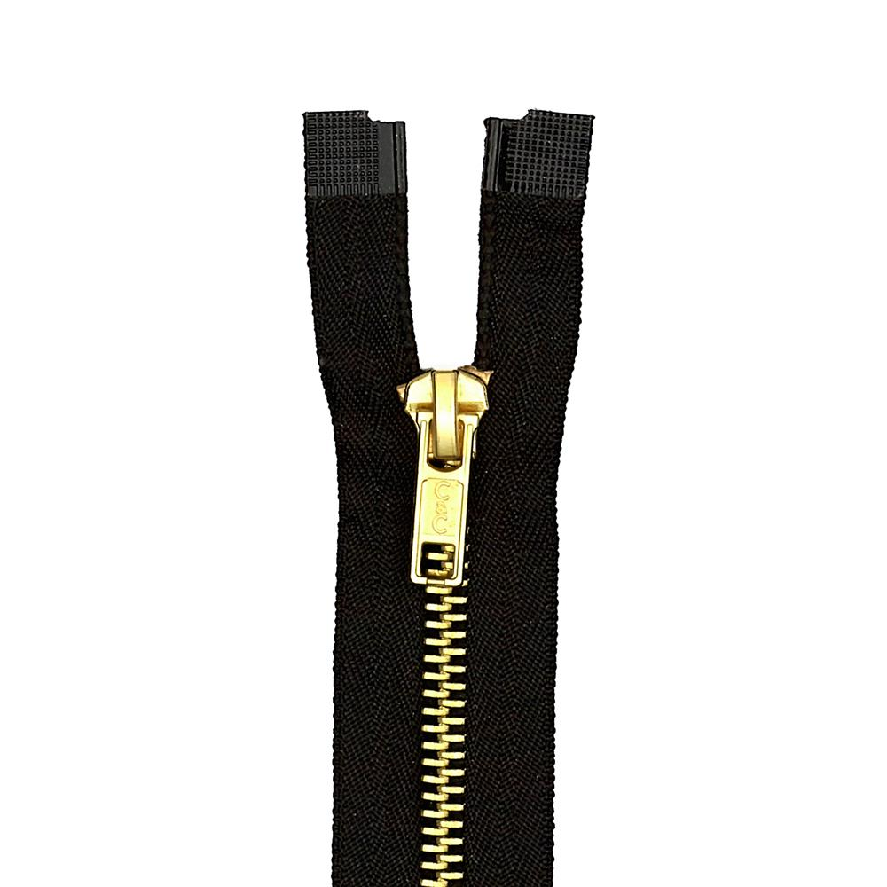 "Coats & Clark Heavy Weight Brass Separating Zipper 22"" Black"