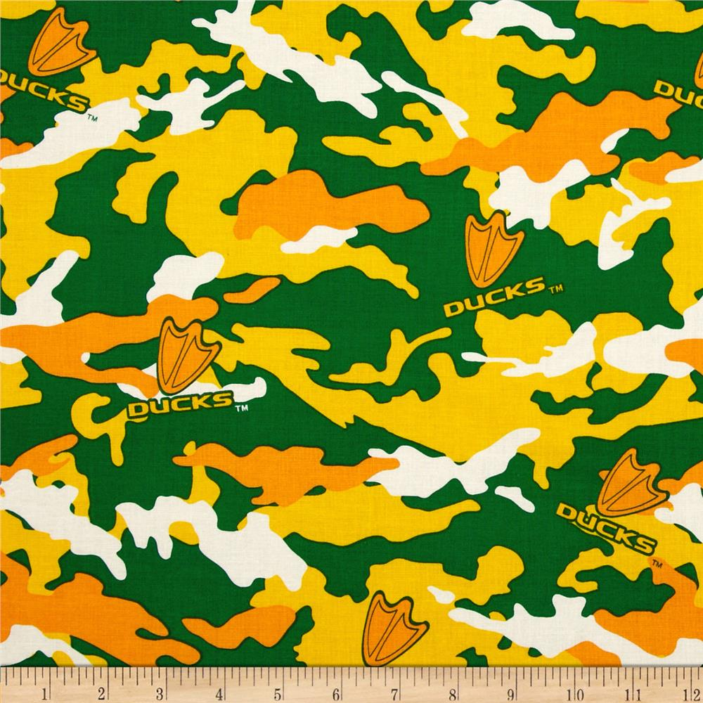 University of Oregan Cotton Camouflage Green/Yellow