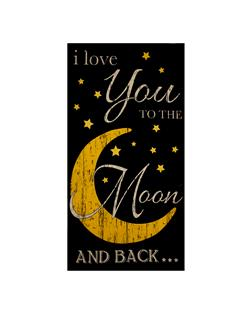 "Timeless Treasures Moon And Back 24"" Moon Panel Noir"