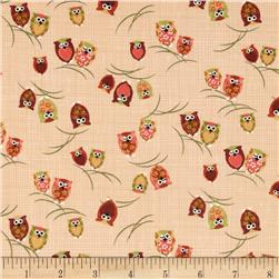 Kokka Owls on Branches Tan