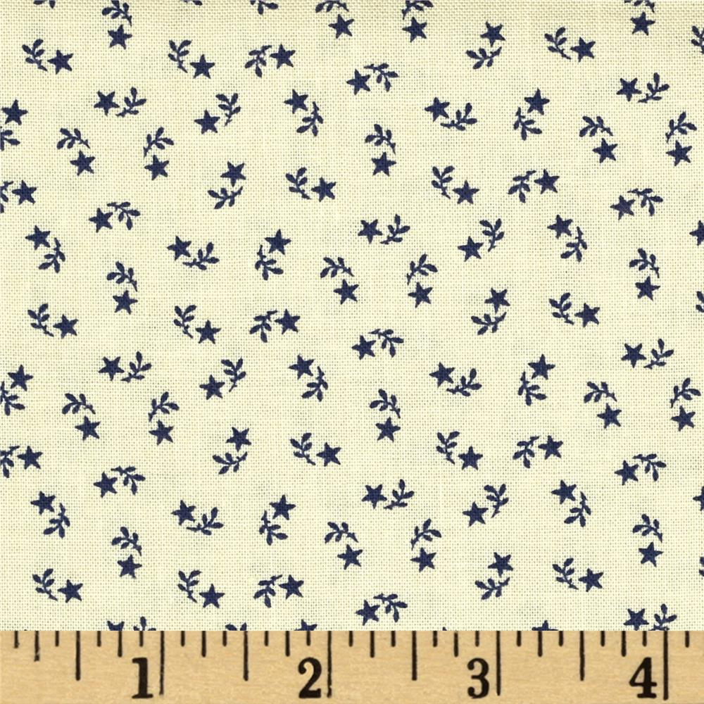 Let Freedom Ring Star Sprigs Cream/Navy