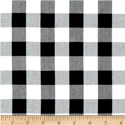 Woven 1'' Cotton Carolina Gingham Black/White