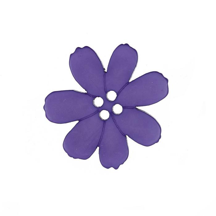 Novelty Button 1 1/2'' Fleurs Violet