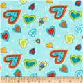 Owl Wonderful Flannel Hearts Allover Blue