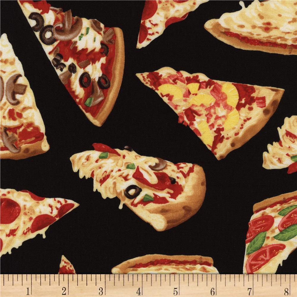 Timeless Treasures Back Comfort Food Pizza Slices Multi