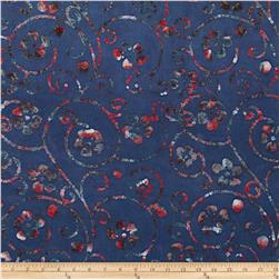 Indian Batik Floral Scroll Navy/Red