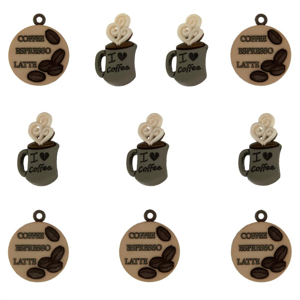 Dress It Up Embellishment Buttons Coffee Talk