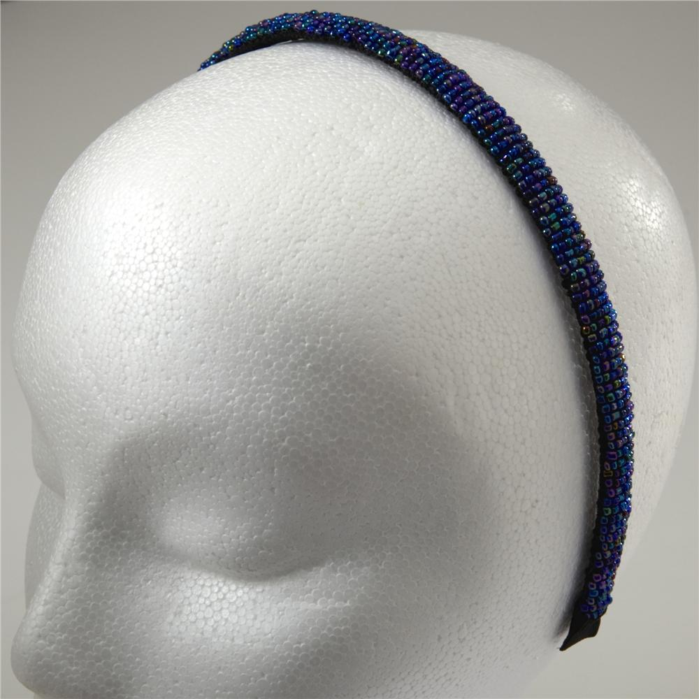 1/2'' Seed Bead Headband Blue/Multi