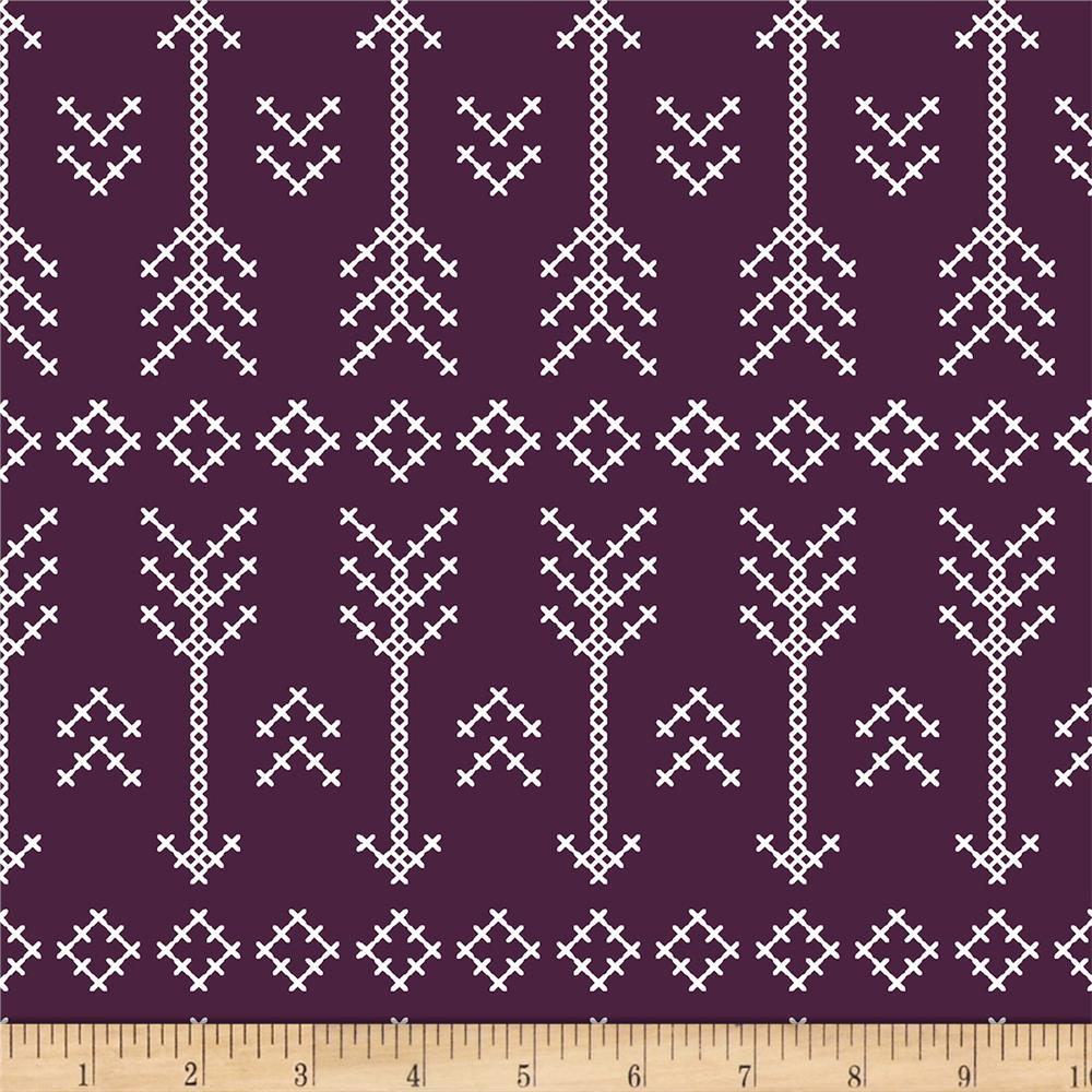 Bolt By Girl Charlee Modern Reflection Jersey Knit Arrow Plum Fabric