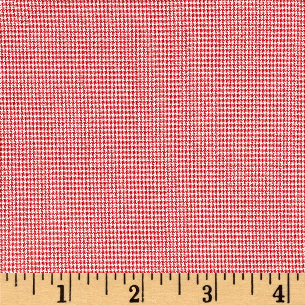 "Polyester 1/16"" Houndtooth Shirting Red/White"