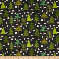 Evergreen Trees Black Fabric