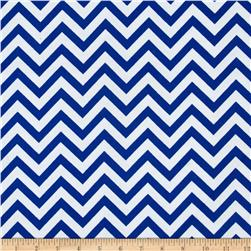 Flannel Chevron Royal/White Fabric