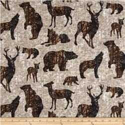 Aspen Ridge Flannel Forest Animals Grey