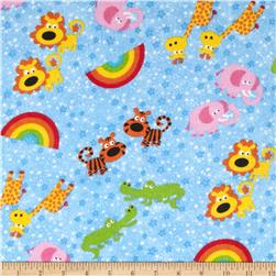 Comfy Flannel Animals, Rainbows & Stars Blue