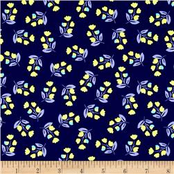 Painted Wings Flowers Navy