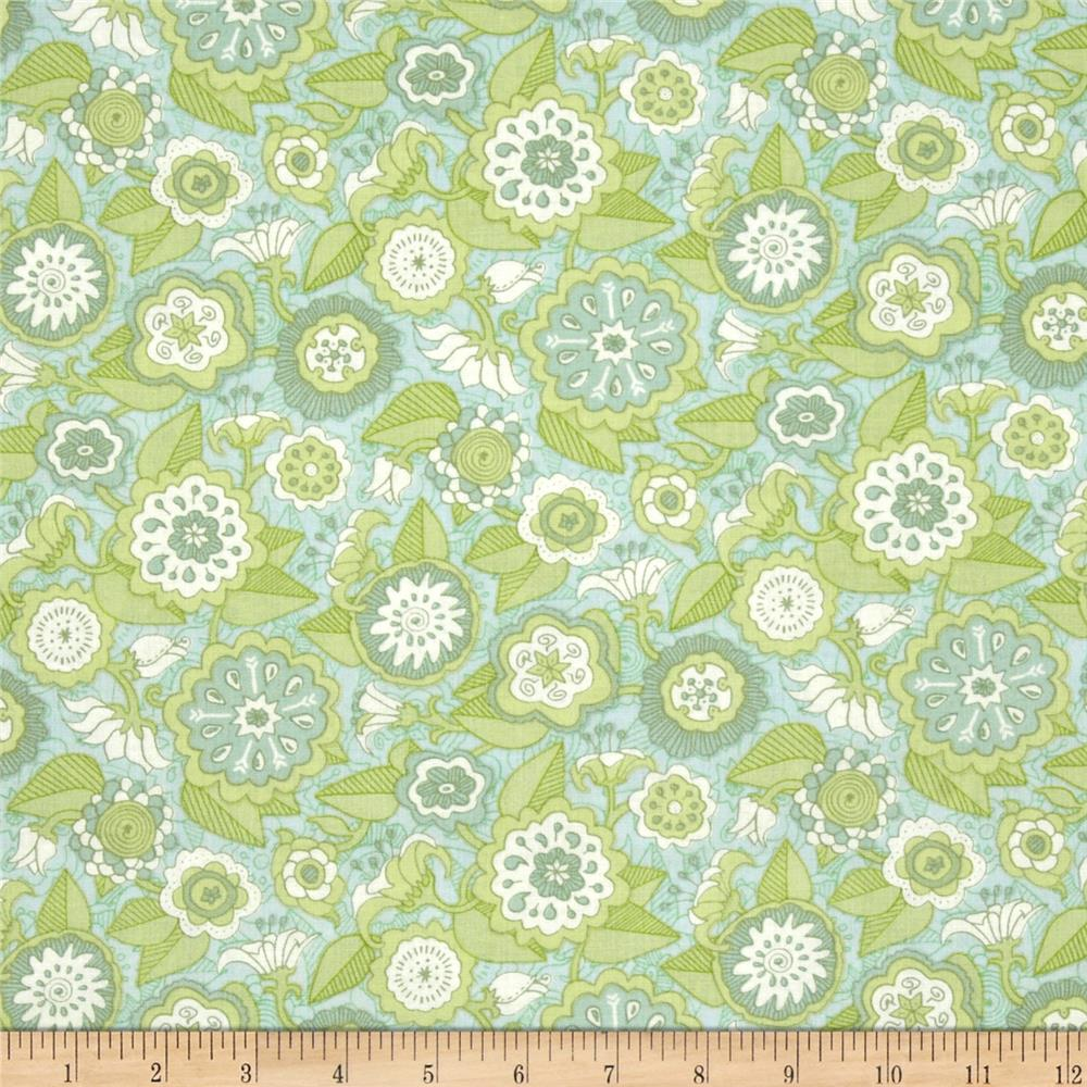 The Emma Collection Geometric Flowers Blue Green
