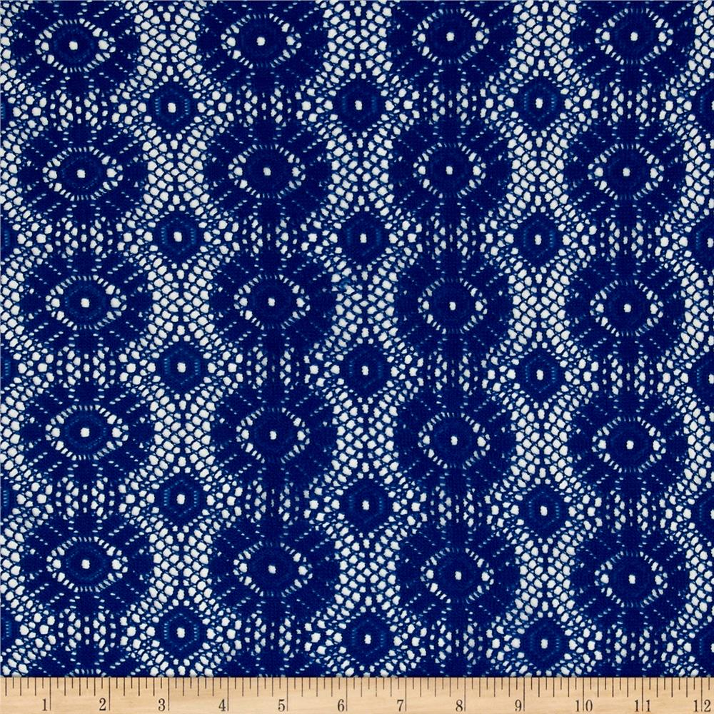 Crochet Lace Medallion Royal Blue Fabric