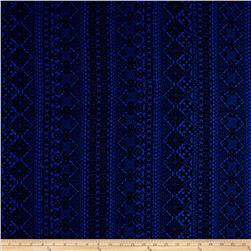 Rayon Challis Aztec Royal/Black