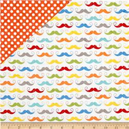 Riley Blake Double Sided Quilted Mustache White Fabric