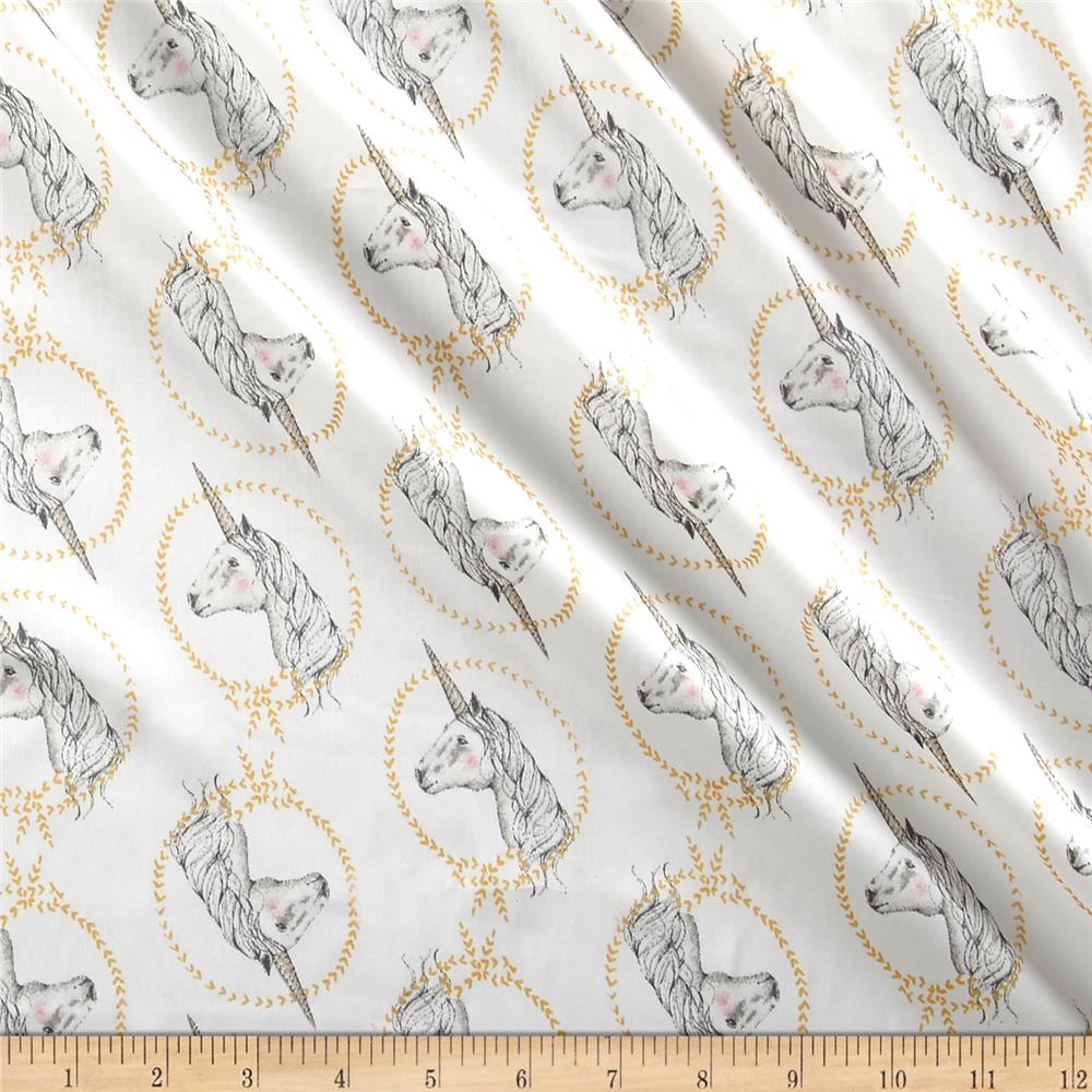 Telio Isabella Satin Unicorns White Fabric