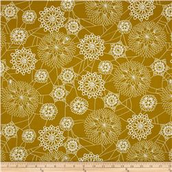 Cotton & Steel Spellbound Metallic Floral Web Mustard