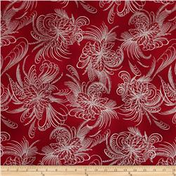 Berries and Blooms Metallic Poinsettia Outline Red/Silver