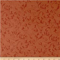 110'' Wide Flannel Quilt Backing Filigree Pumpkin