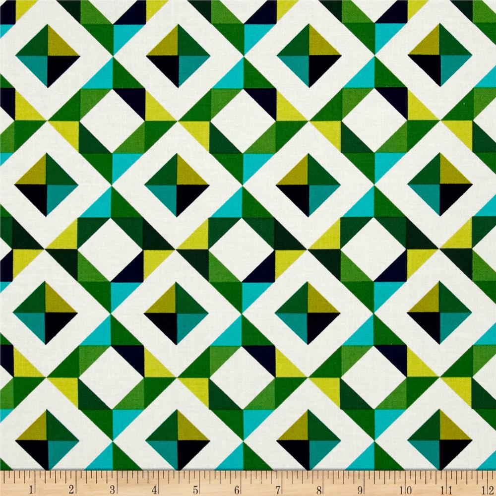 Kaufman Geo Pop Canvas Home Decor Diamond Plaid Emerald
