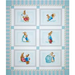 Cotton Tale Flannel Patch Panel Aqua