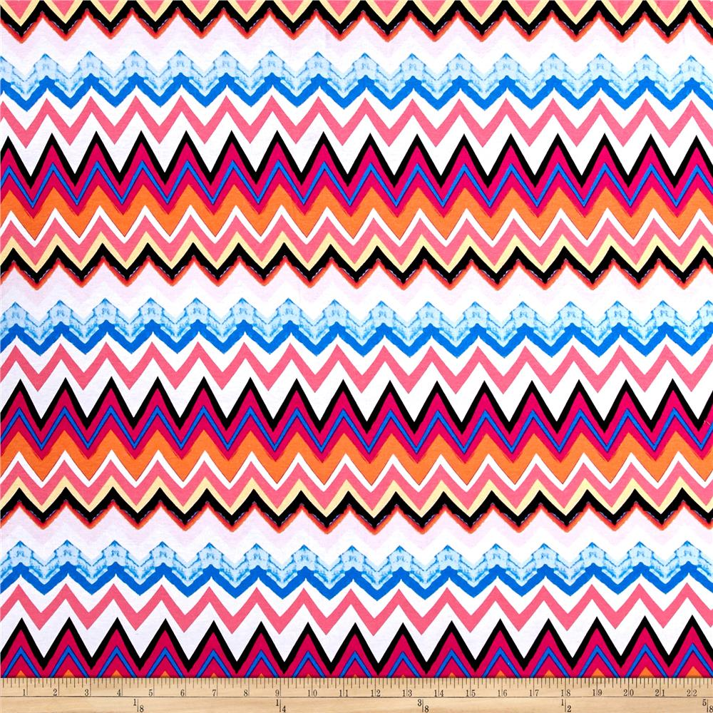 Jersey Knit Chevron Pink/Blue/White/Orange Fabric