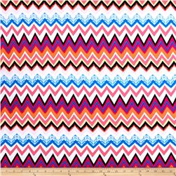 Jersey Knit Chevron Pink/Blue/White/Orange