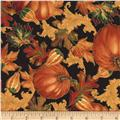 Timeless Treasures Gather Together Metallic Harvest Pumpkins & Leaves Black