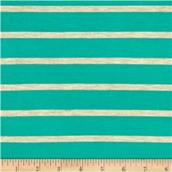 "Wide Lanes 1"" Stripe Rayon Jersey Knit Mint/Oatmeal"