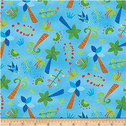 Dandy Dinos Trees Allover Blue