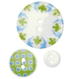 Fashion Buttons 1/2'', 7/8'', 1 3/8'' Coordinates Double Dutch Green/Blue/White