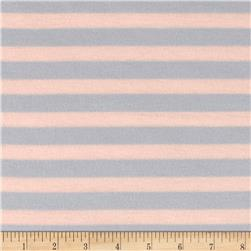 Stretch Poly Spandex Jersey Knit Horizontal Stripes Light Blue on Oatmeal