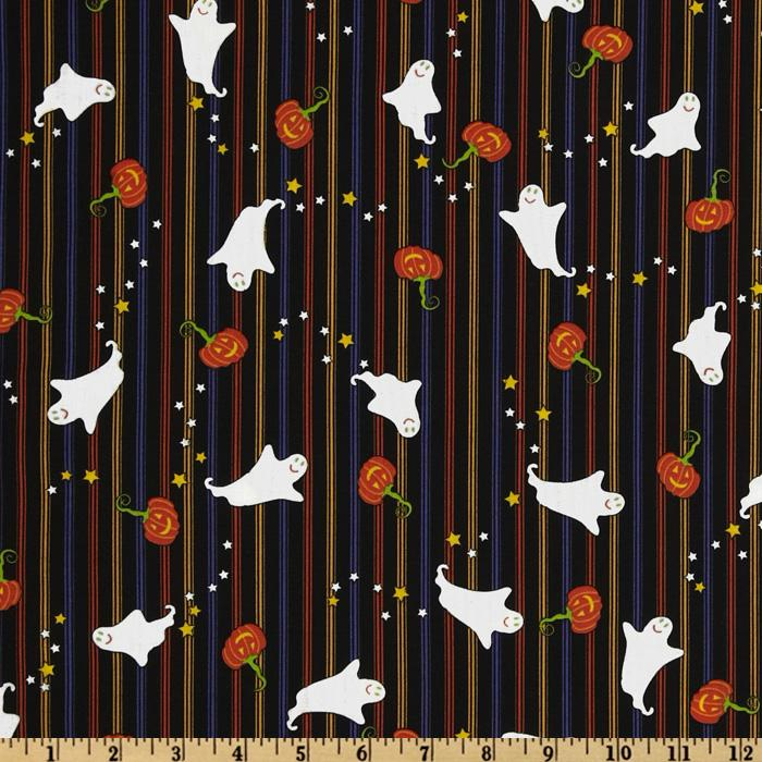 Happy Halloween Stripes & Ghosts Black/Multi