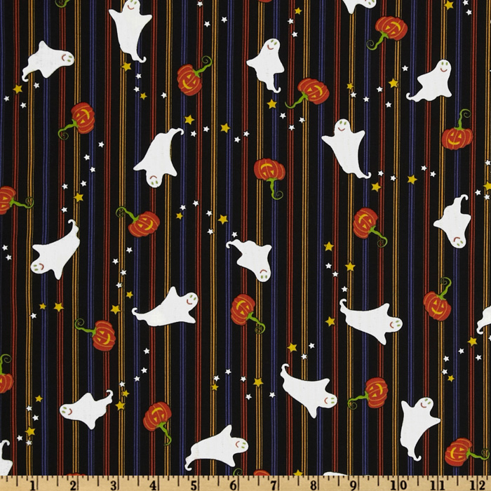 Happy Halloween Stripes & Ghosts Black/Multi Fabric