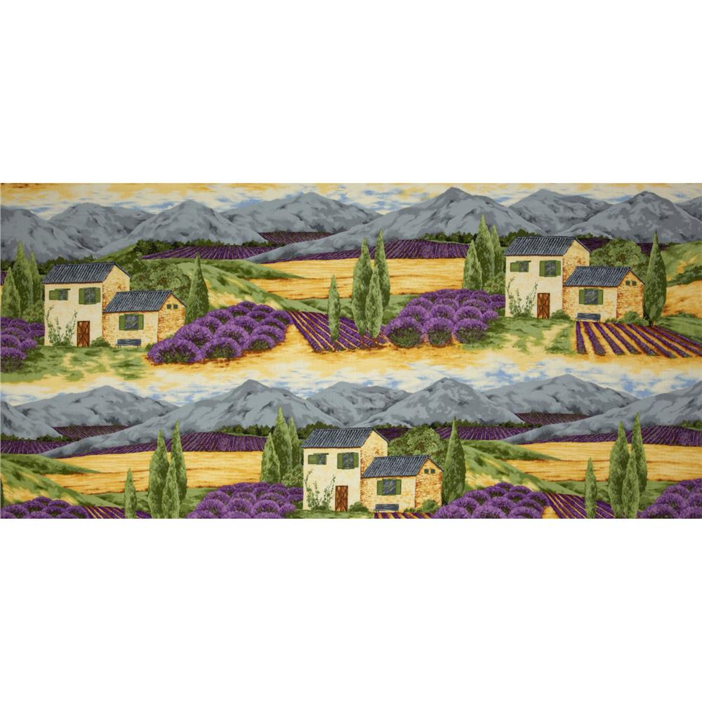 Lavender Bliss Farm Scenic Panel Green/Yellow/Purple