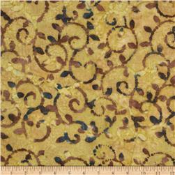 Indian Batik Bronze Mosaic Scroll Natural