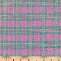 Metallic Shot Cotton Plaid Pink/Blue