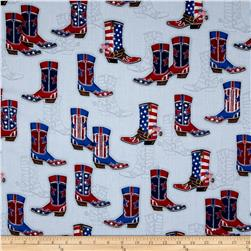 Kaufman Red, White and Blue Boots Denim
