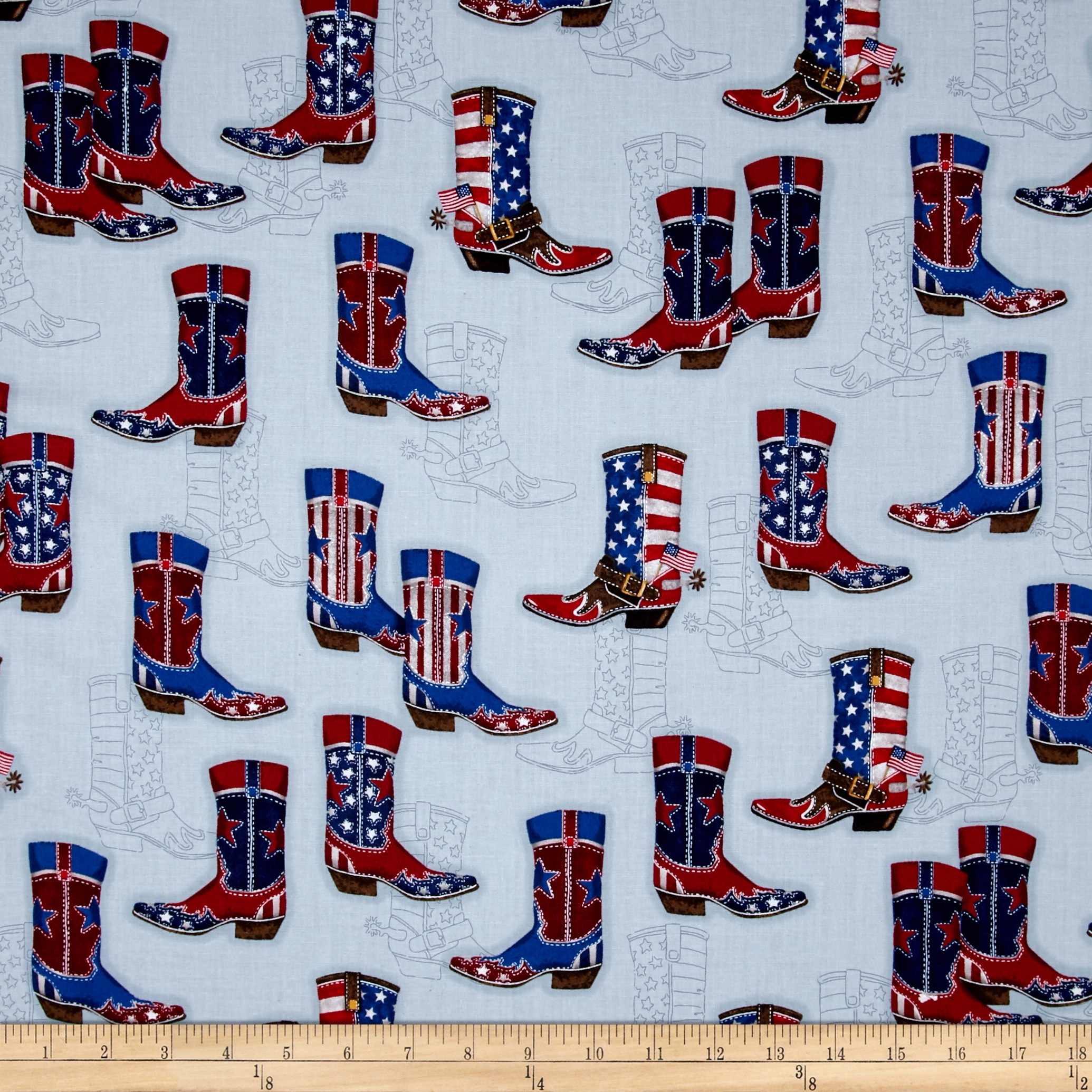 Kaufman Red White and Blue Boots Denim Fabric by Kaufman in USA