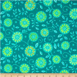 Monaco Floral Teal Fabric